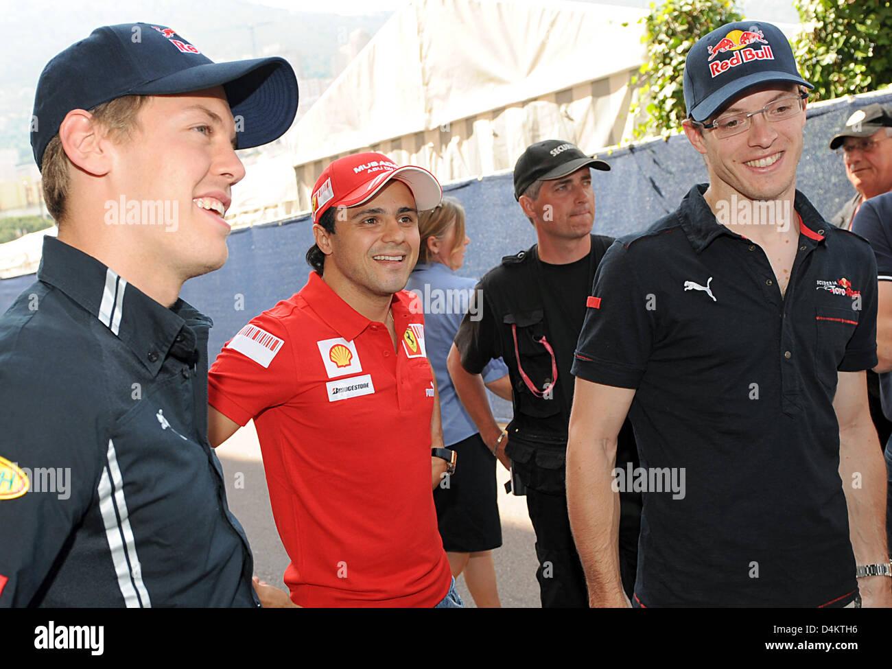 German Formula One driver Sebastian Vettel of Red Bull (L-R), Brazilian Formula One driver Felipe Massa of Ferrari Stock Photo