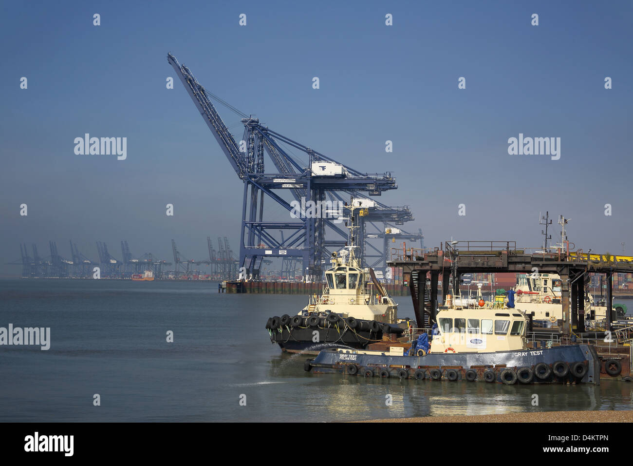 cranes at the port of felixstowe on the sussex coast - Stock Image