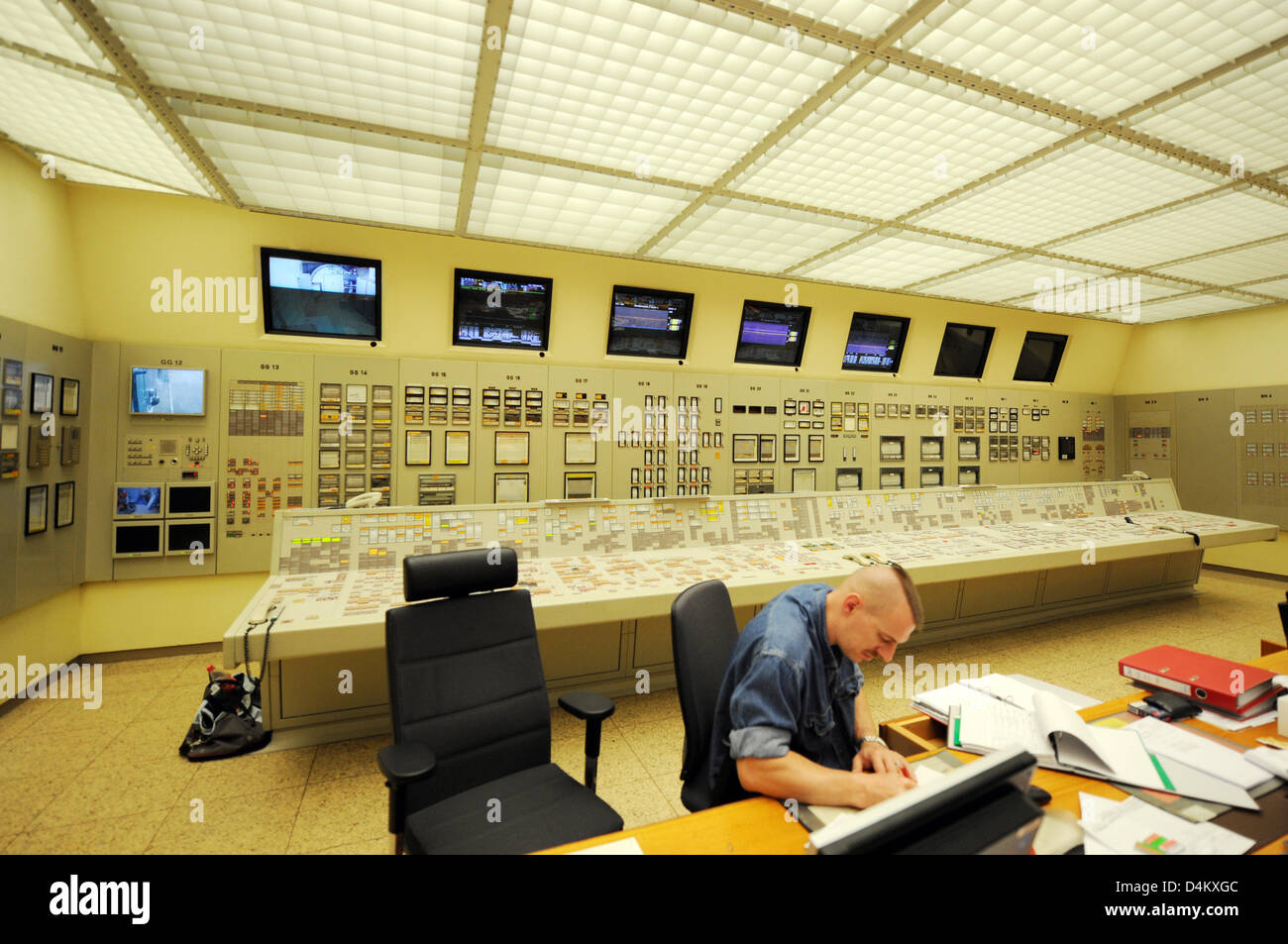 The switch room of the former atomic power plant in Obrigheim, Germany, 20 May 2009. The plant was shut down in Stock Photo