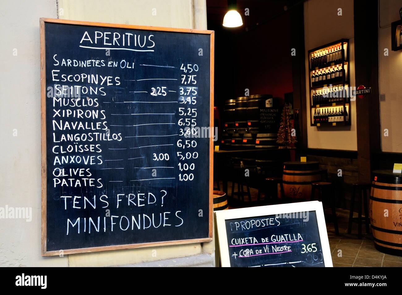 Barcelona Catalonia Spain Menu Outside Tapas Bar Winter Are