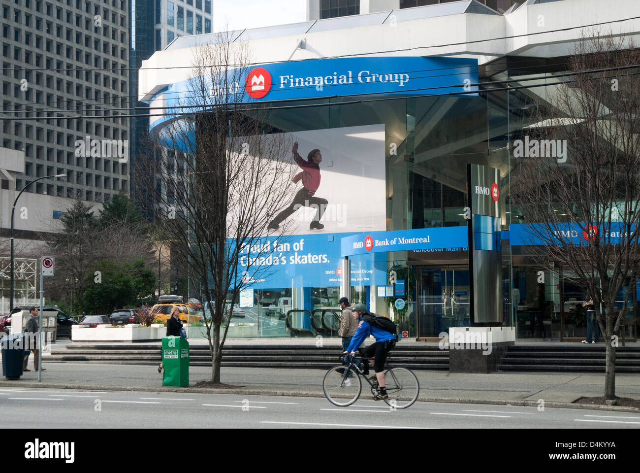 Bank of Montreal or BMO bank in Vancouver, British Columbia, Canada - Stock Image