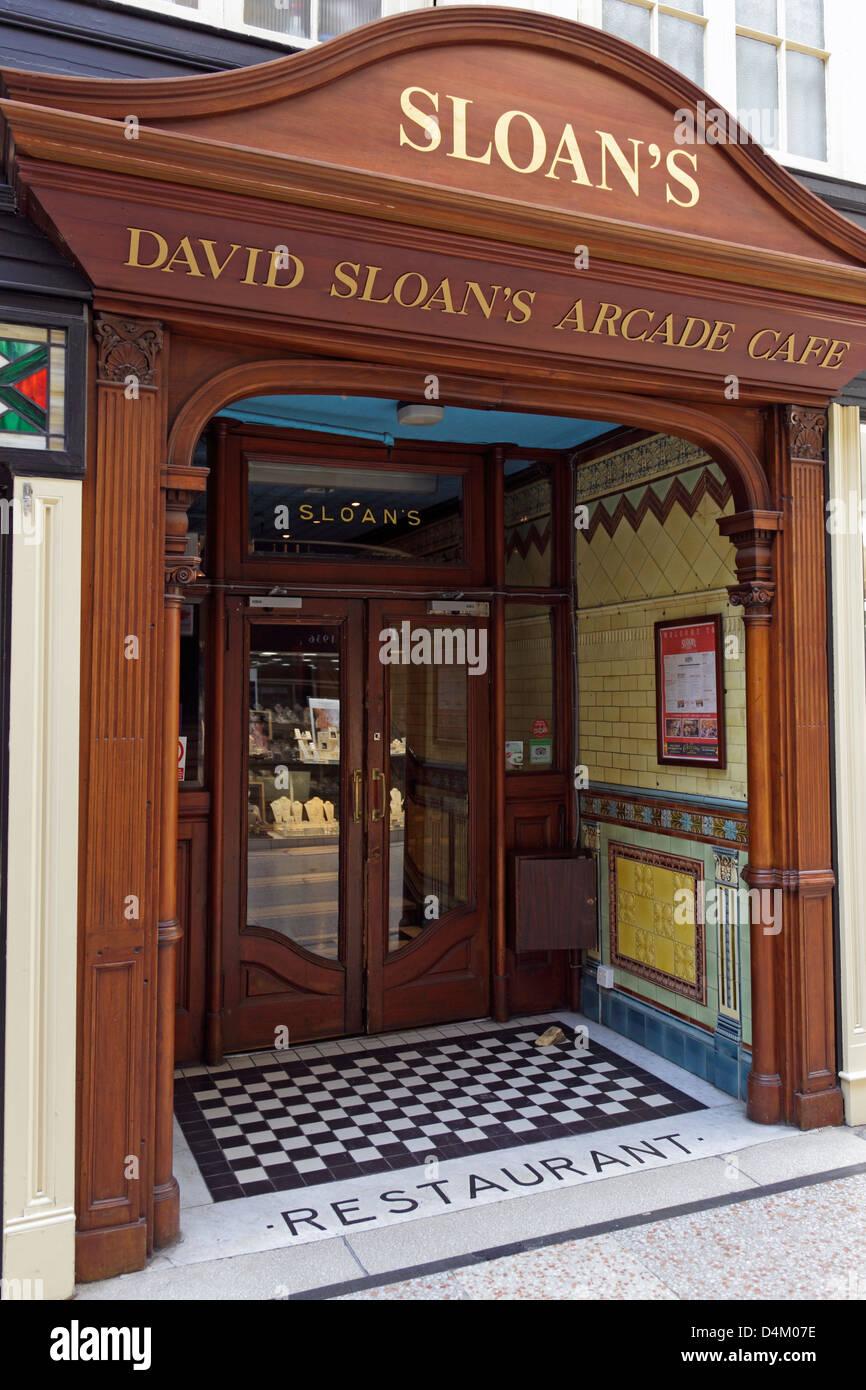 Entrance to David Sloan's Arcade Cafe, Argyle Arcade, Glasgow city centre, Scotland, UK - Stock Image