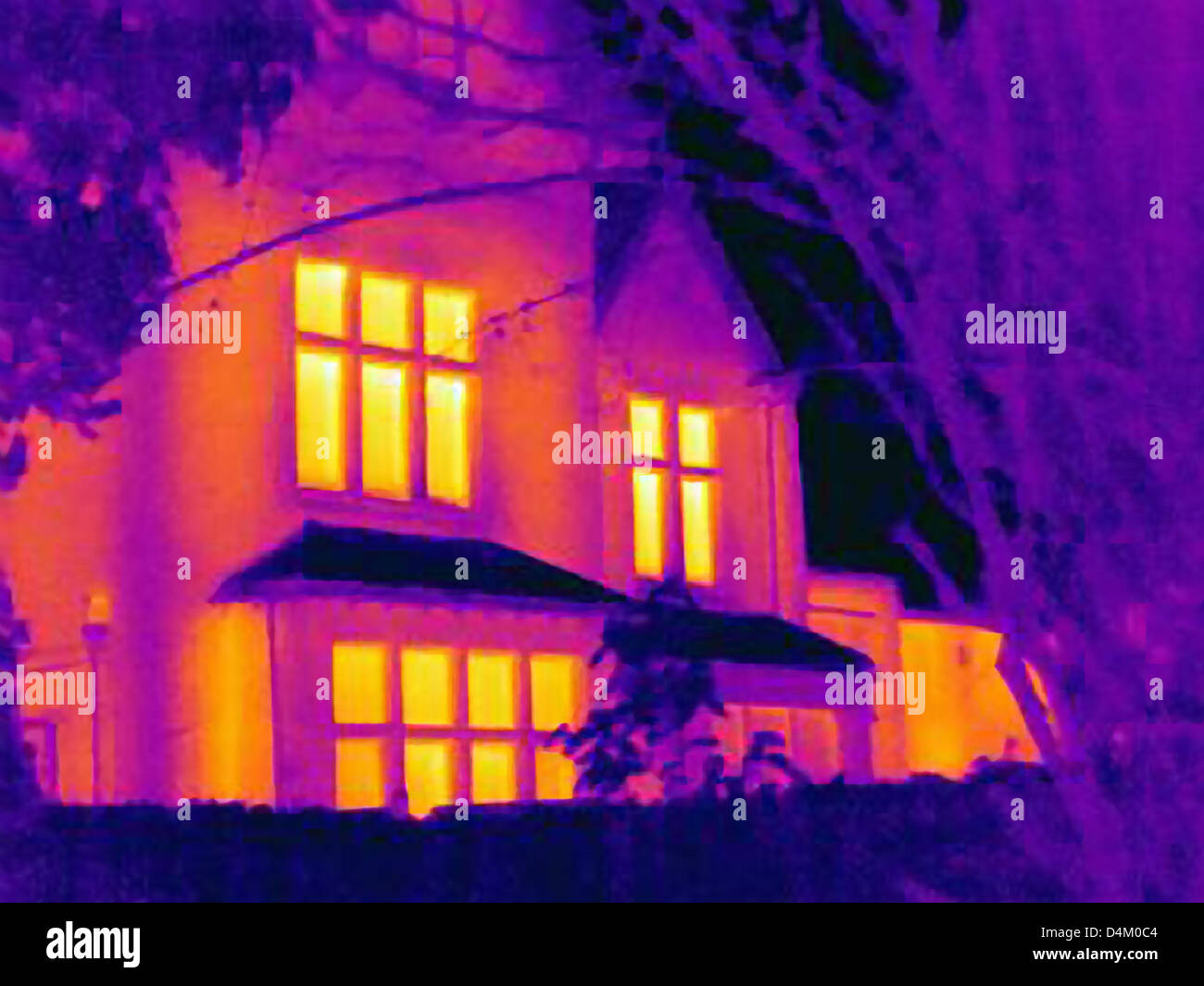 Thermal image of house - Stock Image