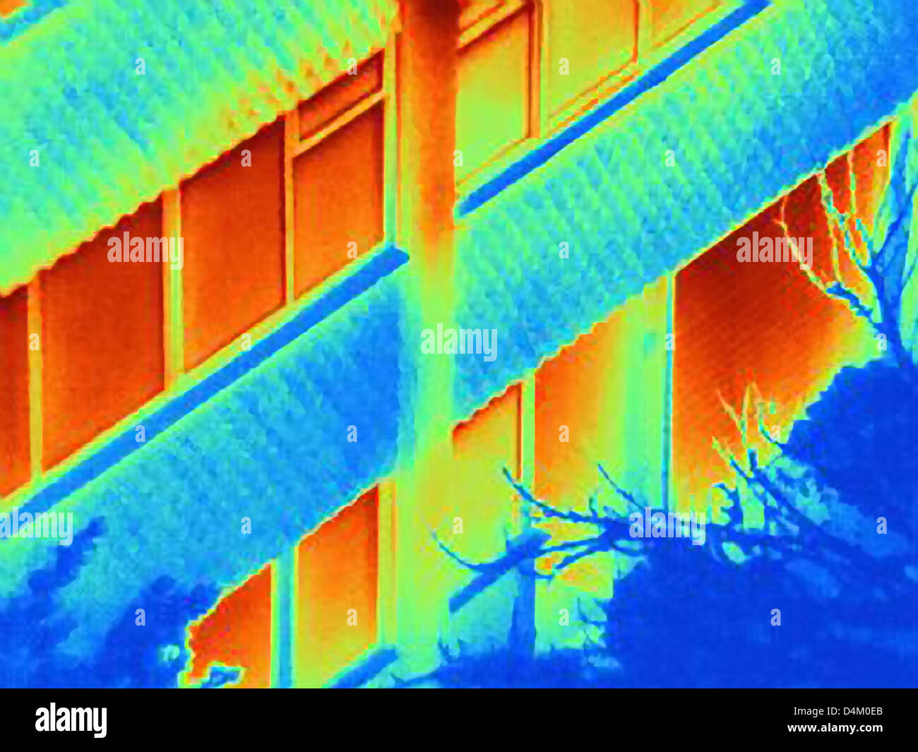Thermal image of apartment building - Stock Image