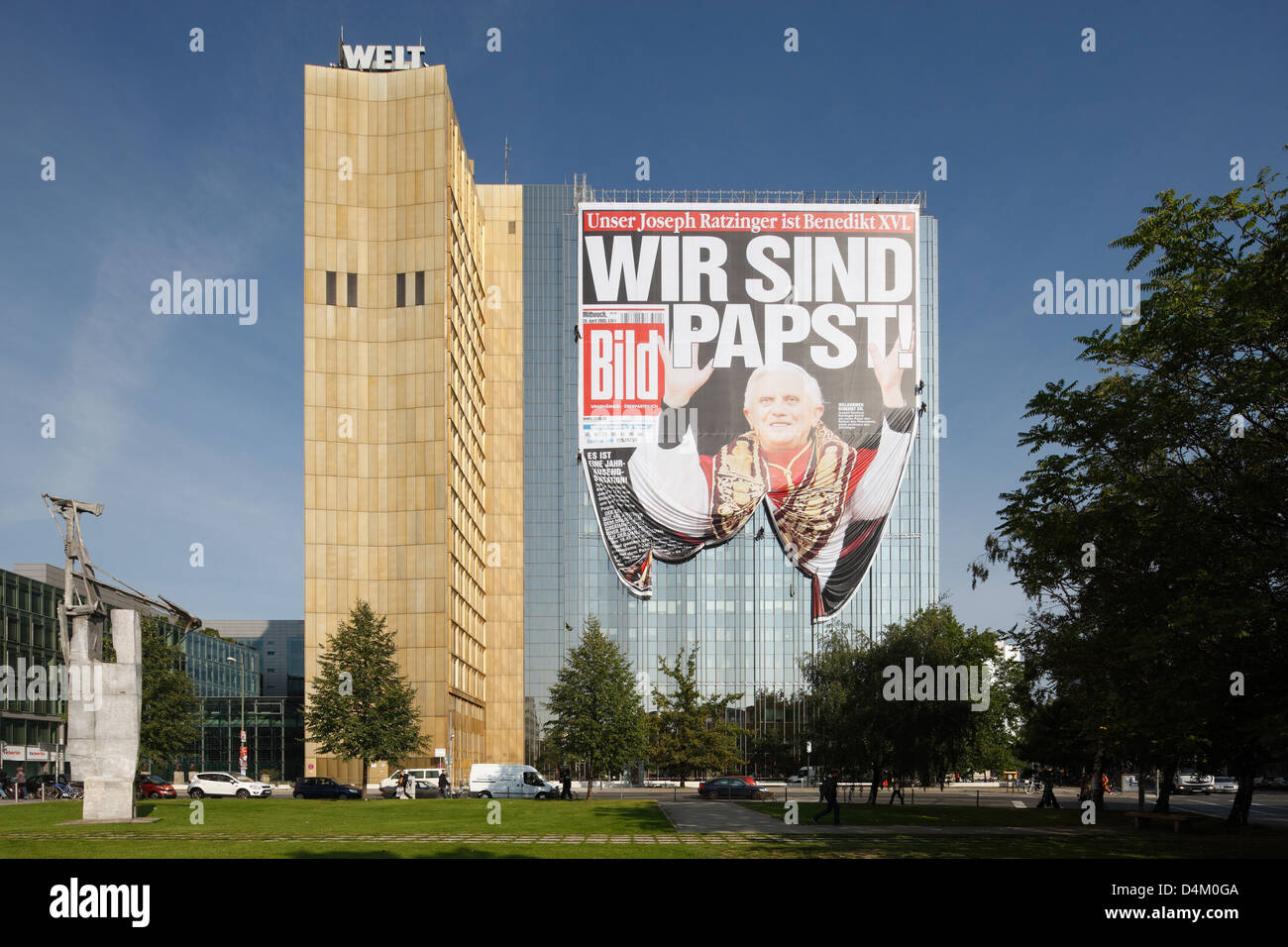 Berlin, Germany, PICTURE front page with the headline-We-Pope on the facade of the Springer building - Stock Image