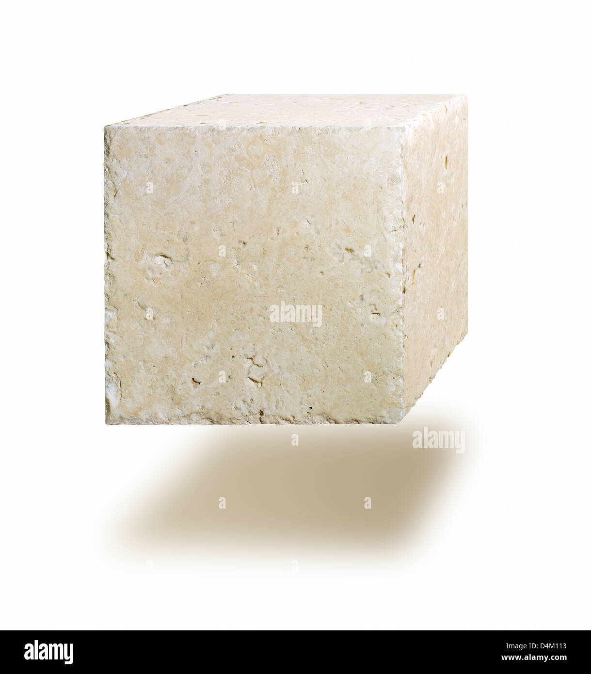 Marble cube floating in air against white background - Stock Image