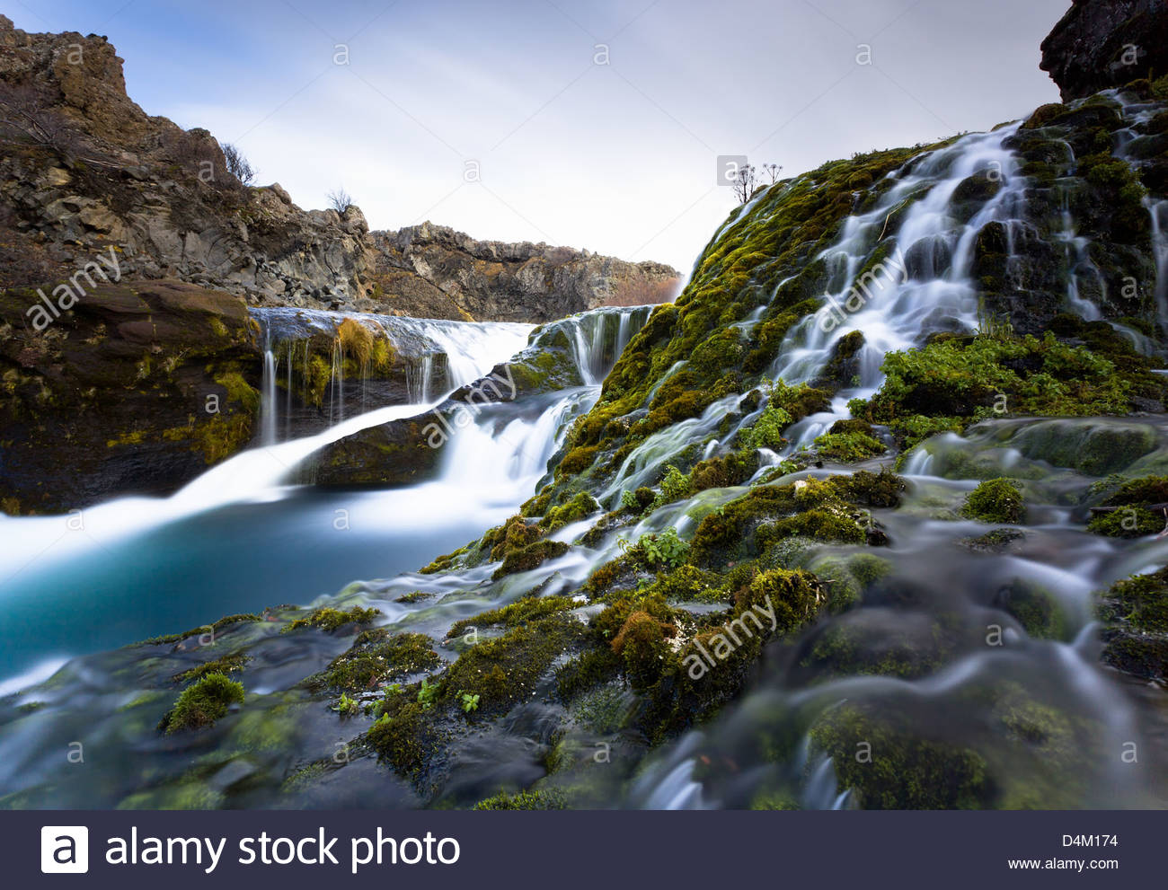Blurred view of water rushing over rocks - Stock Image