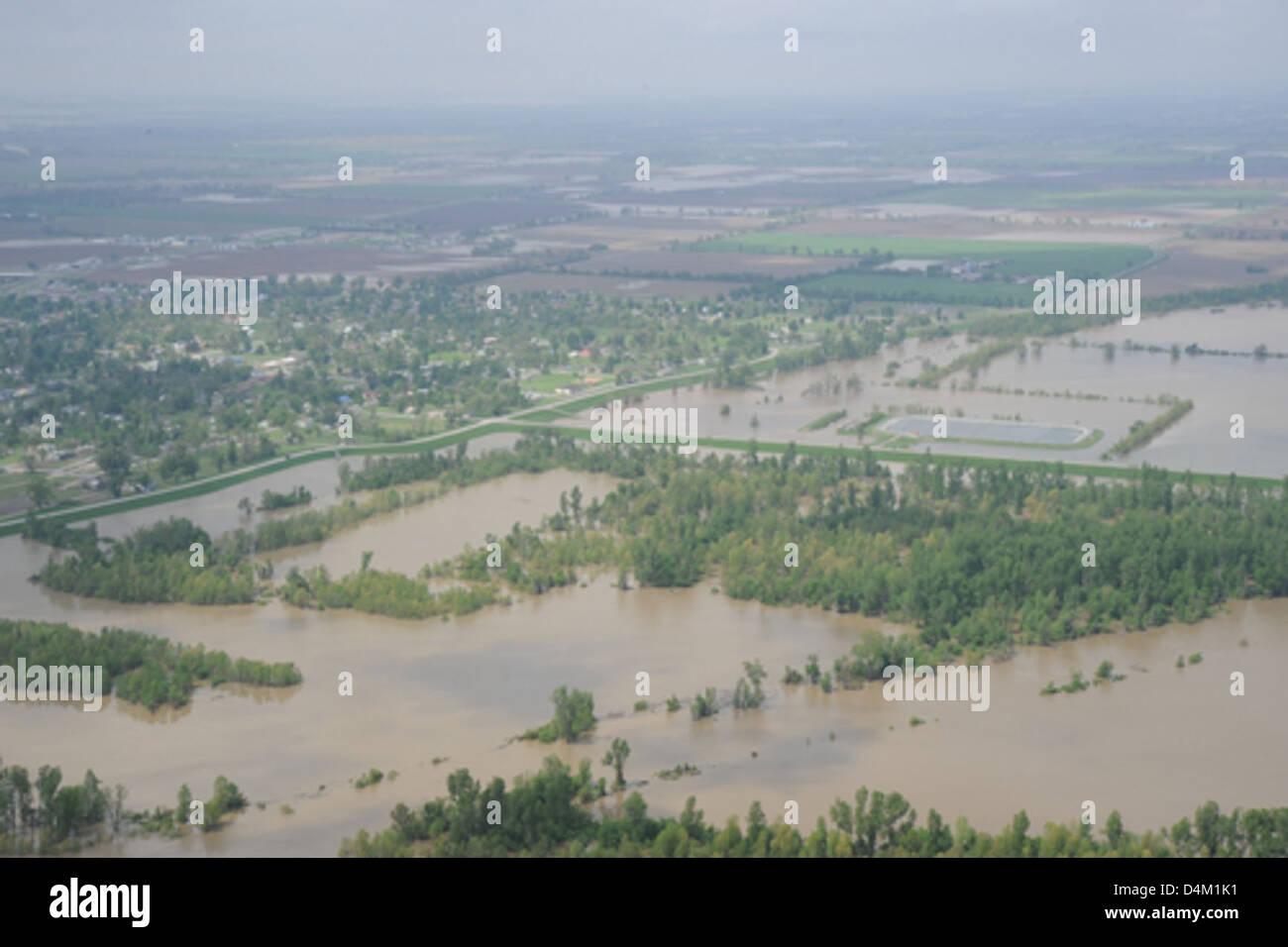 Flooding near Cairo, Ill., and Bird's Point, Mo. Stock Photo