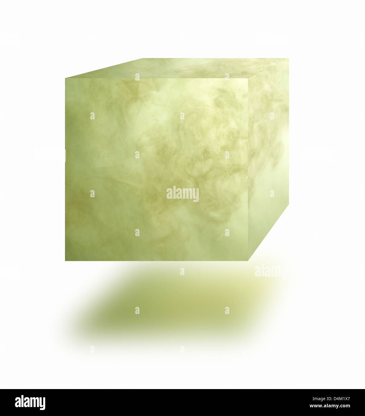 Poisonous gas cube floating in air over white background Stock Photo
