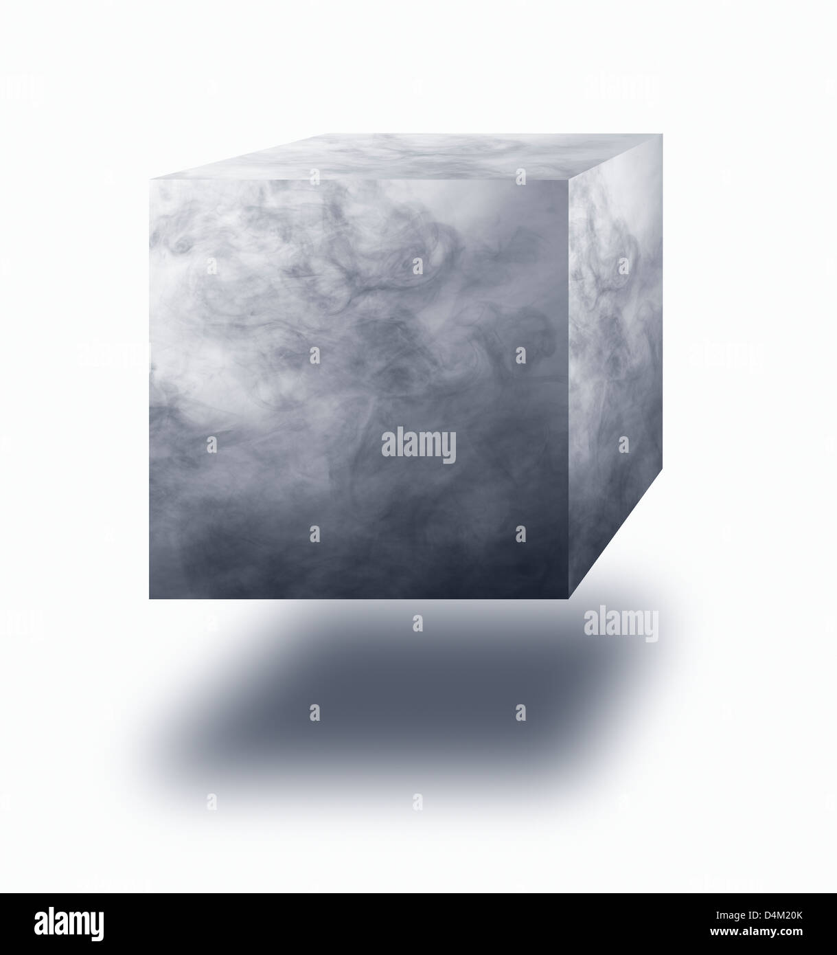 Vapor cube floating in air over white background - Stock Image
