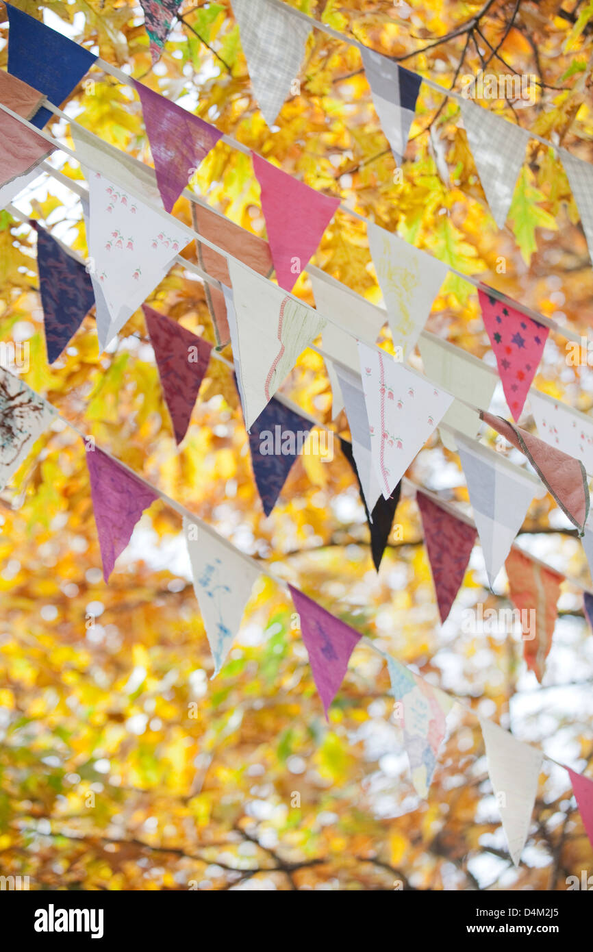 Flags flying against autumn leaves - Stock Image