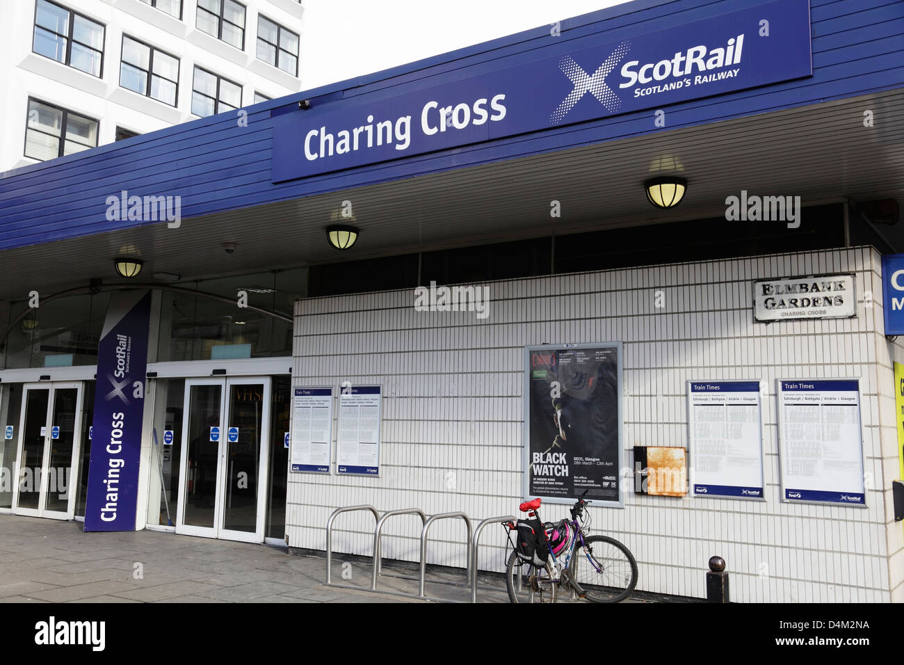 Entrance to Charing Cross Scotrail Train Station on Elmbank Gardens in Glasgow, Scotland, UK - Stock Image