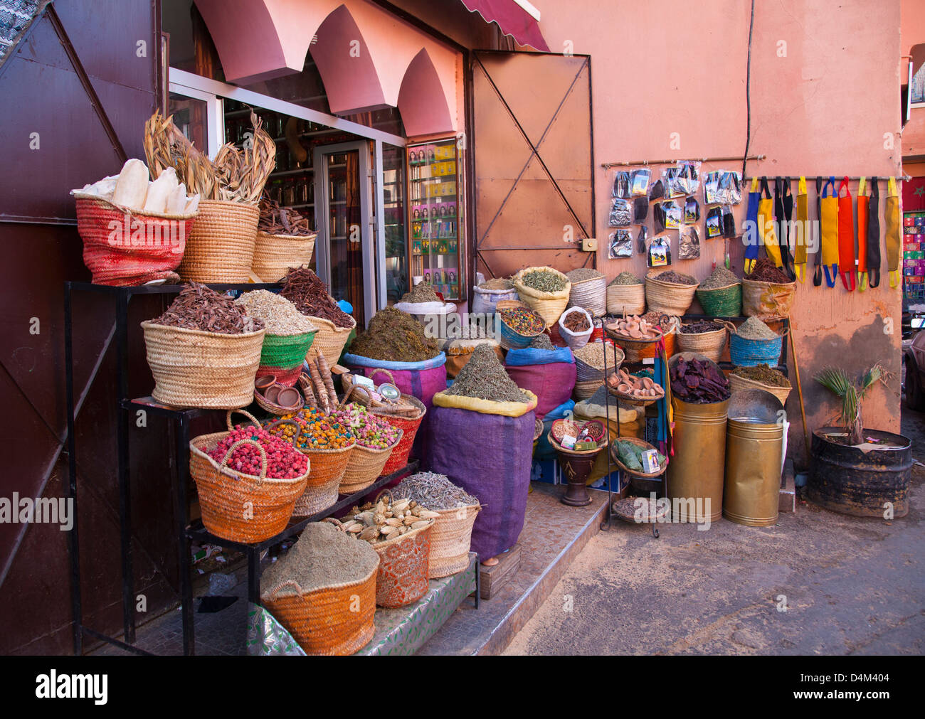 Baskets of food for sale at store - Stock Image