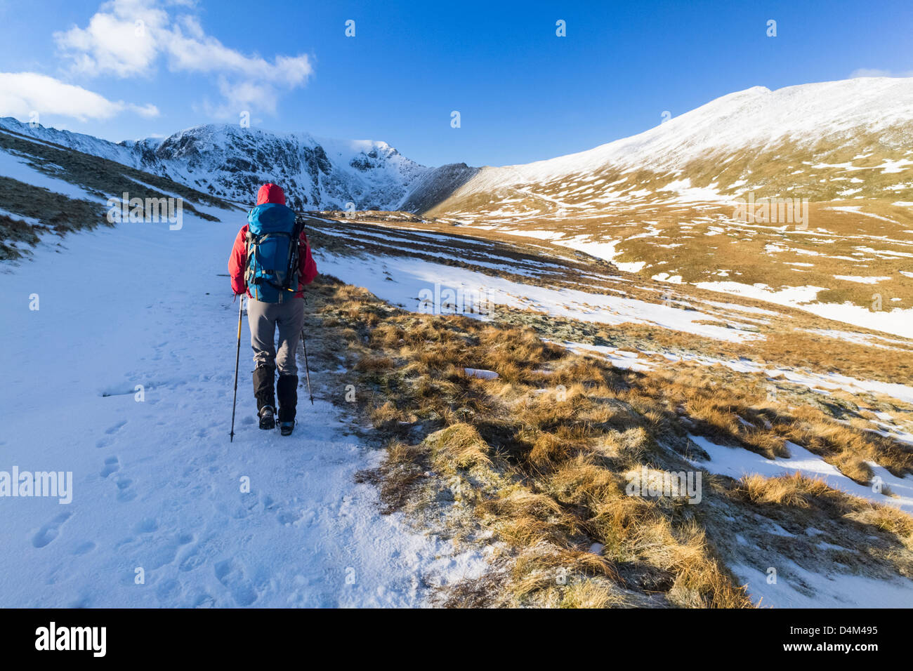 A hiker walking towards Helvellyn in the Lake District - Stock Image
