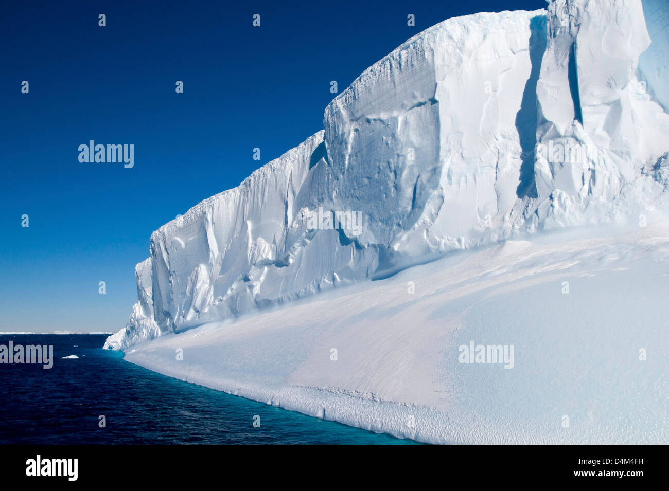 A tabular iceberg located in the waters of Antarctic Sound close to the Antarctic Peninsula - Stock Image