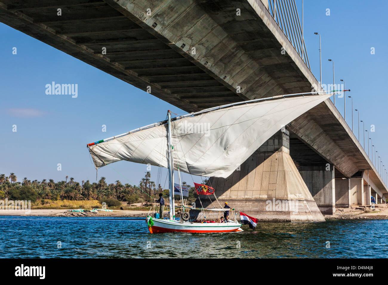 Tourist felucca swivels its main sailto pass under the bridge at Aswan on the Nile, Egypt - Stock Image