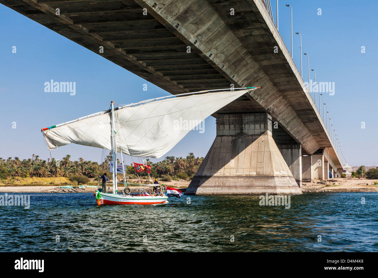 Tourist felucca swivels its main sail to pass under the bridge at Aswan on the Nile, Egypt - Stock Image