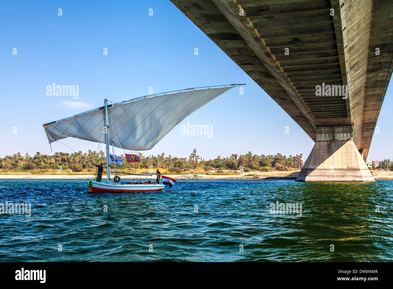 Tourist felucca swivels its main sail as it passes under the bridge at Aswan on the Nile, Egypt - Stock Image
