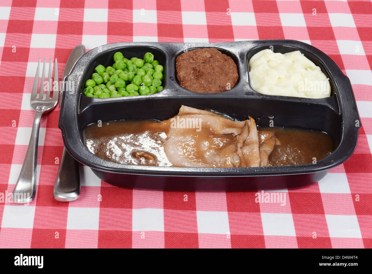 roast beef tv dinner - Stock Image