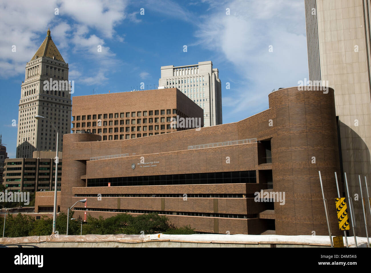The Murry Bergtraum High School for Business Careers viewed from the Brooklyn Bridge in New York Stock Photo