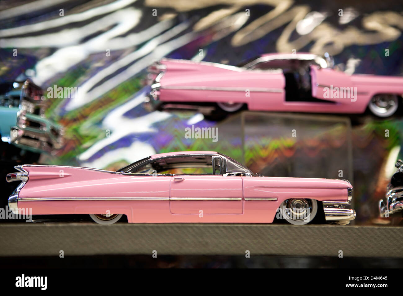 A Pink Cadillac Toy Car On The Shelf Reno Nevada Usa Stock Photo
