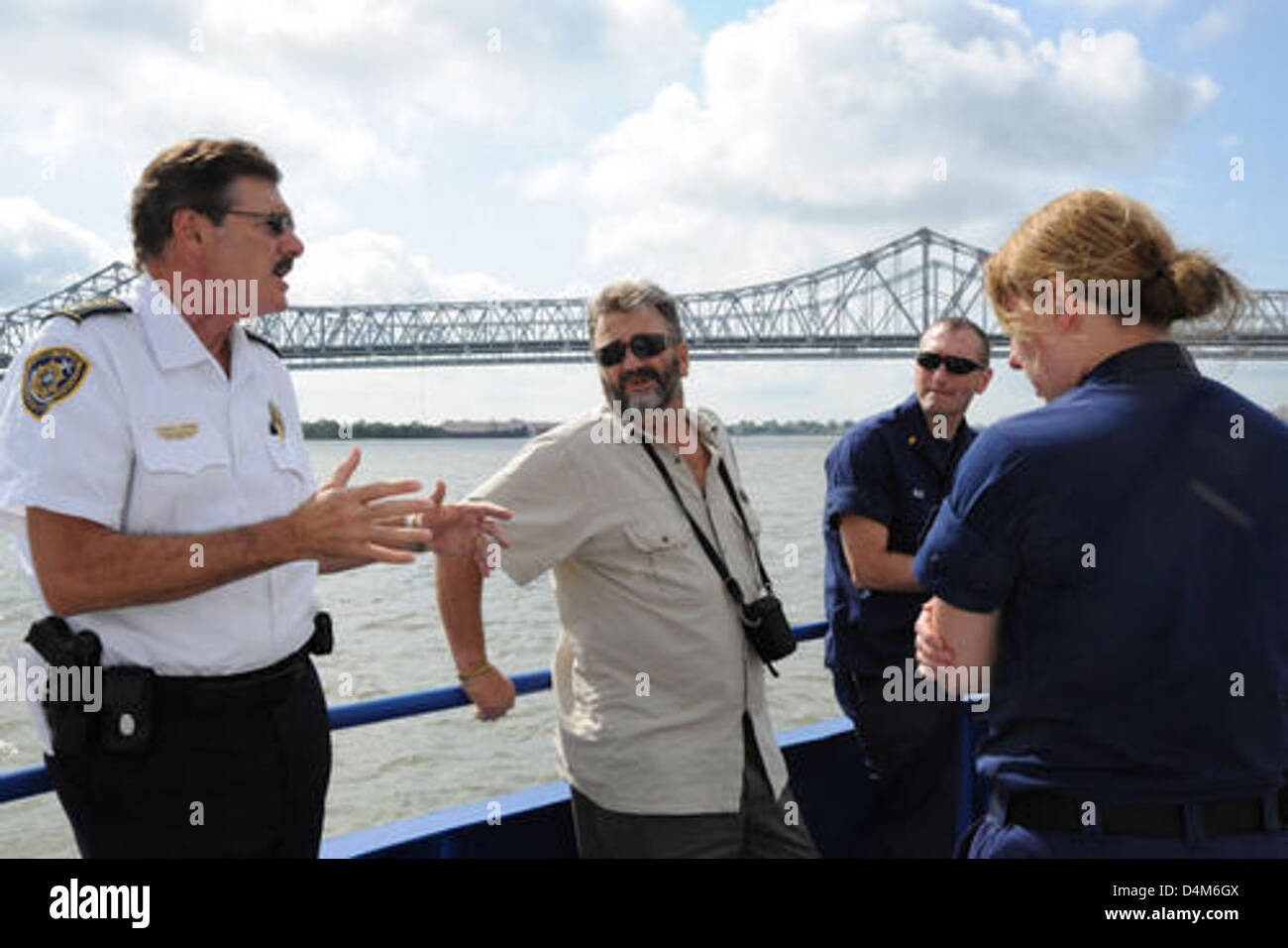 Harbor Police Port of New Orleans escort South African delegates Stock Photo