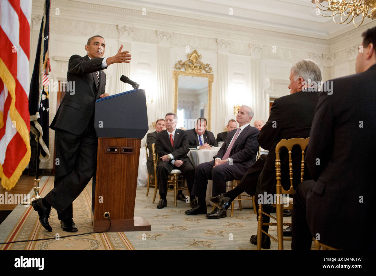 US President Barack Obama delivers remarks during a meeting with the National Governors Association in the State - Stock Image