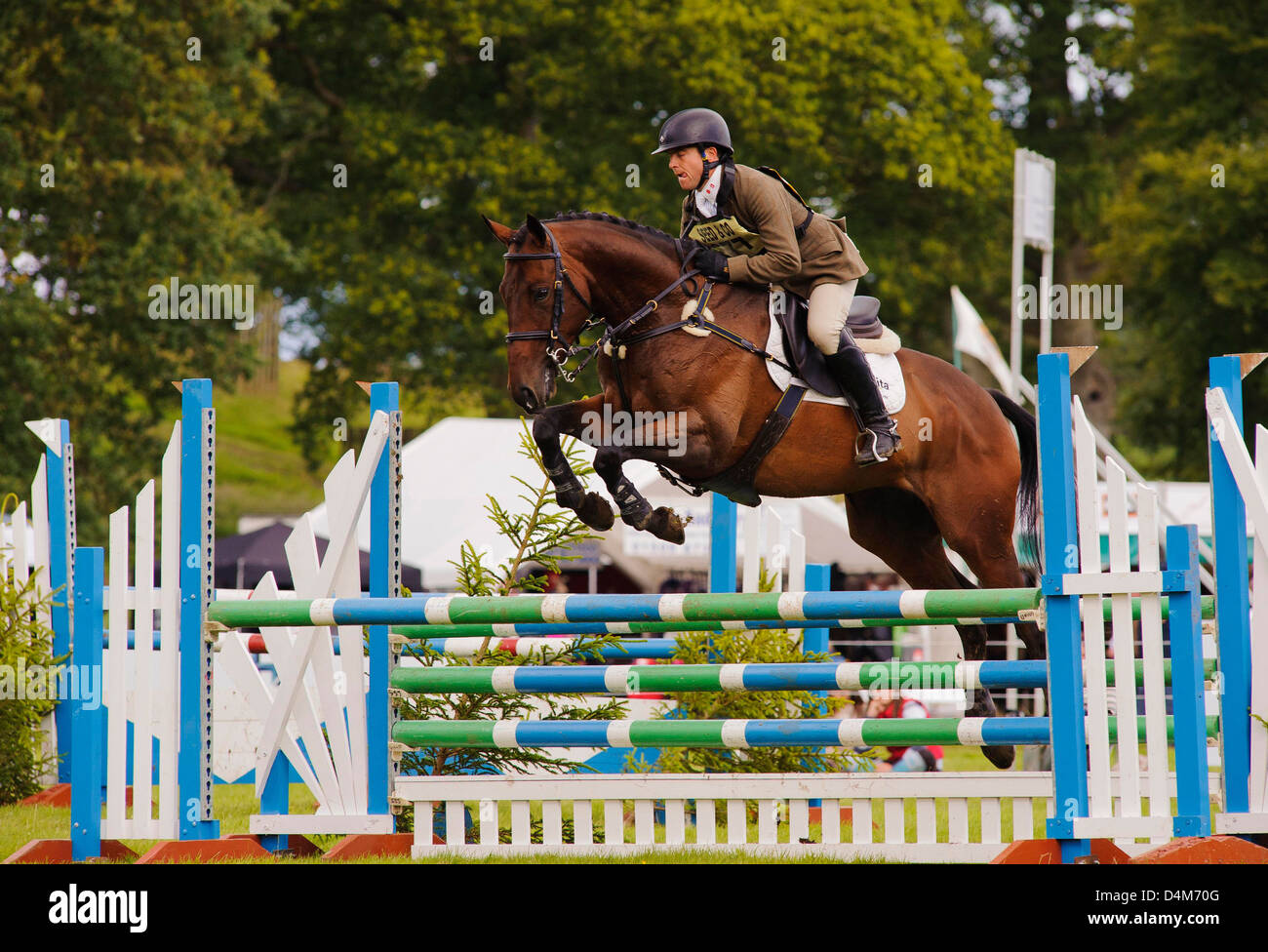 Show jumping action at Gillespie Macandrew Hopetoun House Horse Trials 29 July 2012 - Stock Image