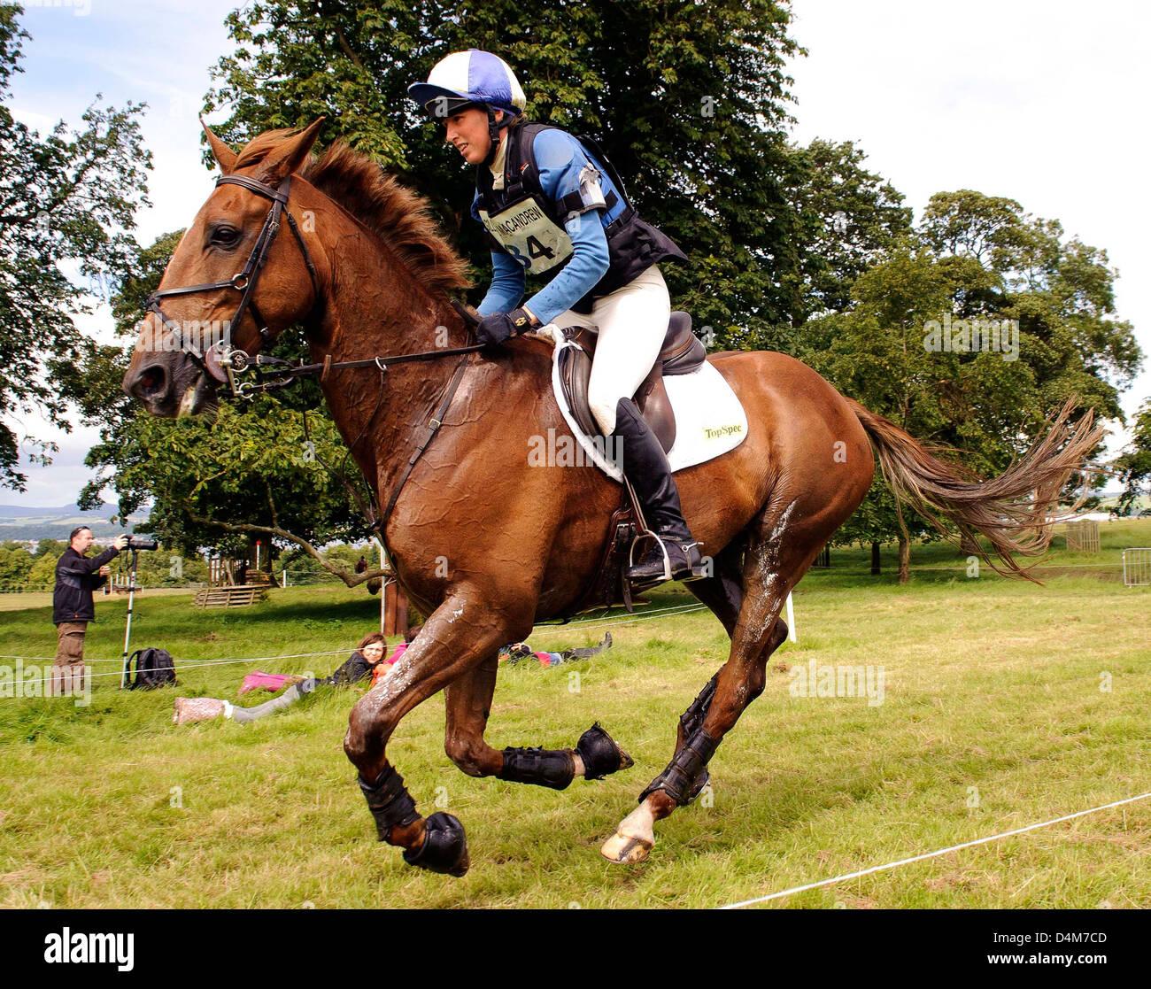 Louisa Milne Home on Elton John at Gillespie Macandrew Hopetoun House Horse Trials 29 July 2012 - Stock Image