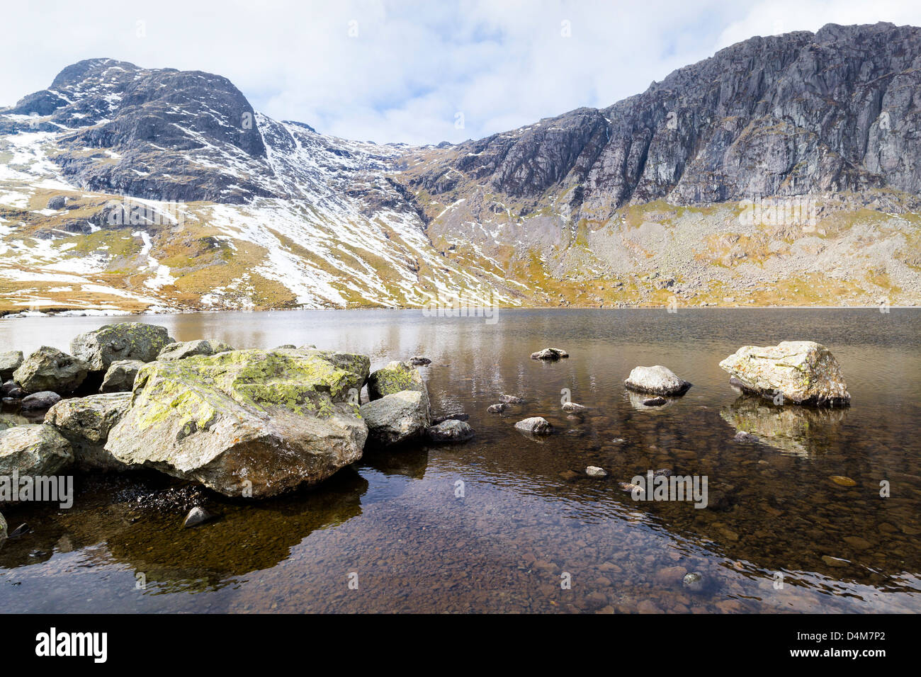 Stickle Tarn, Harrison Stickle and Pavey Ark, Great Langdale in the Lake District. - Stock Image