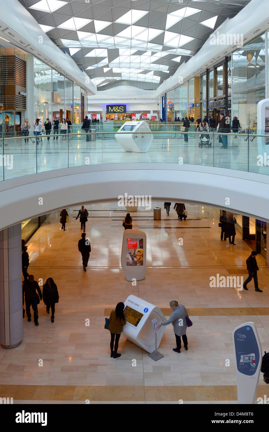 Interior view of Westfield shopping centre malls White City Shepherds Bush West London England UK - Stock Image