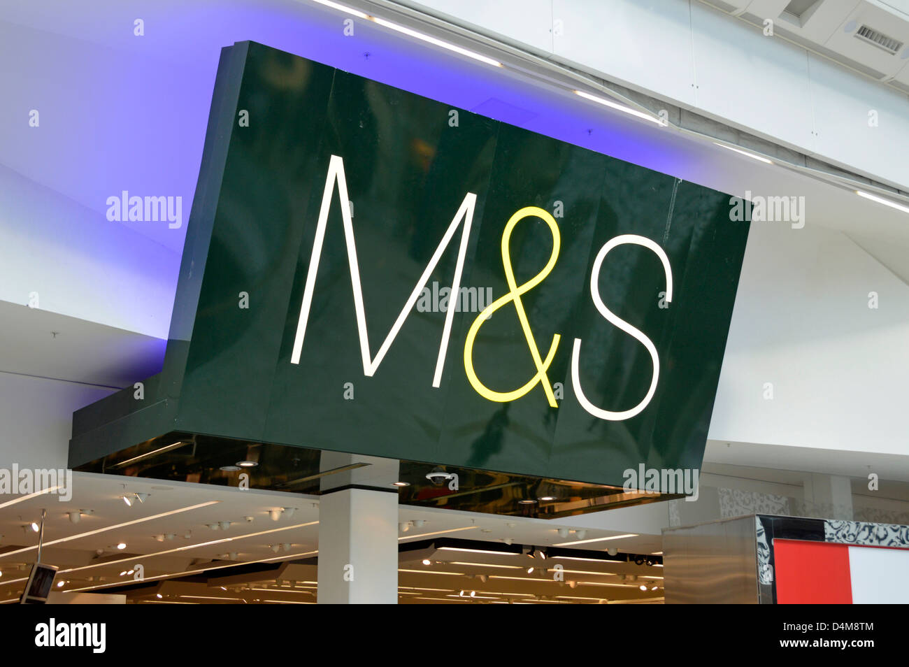 M&S logo sign above store entrance at the Westfield centre indoor shopping malls - Stock Image
