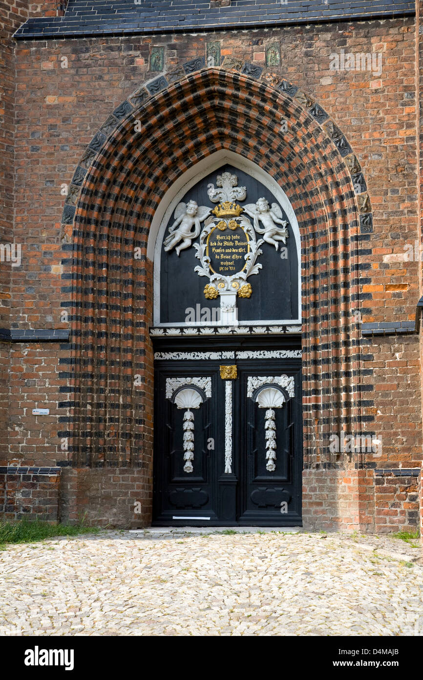 Wismar, Germany, site of St. Nicholas Church - Stock Image