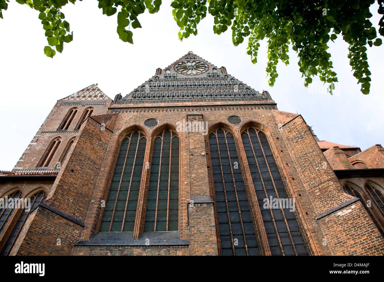 Wismar, Germany facade of St. Nicholas Church - Stock Image