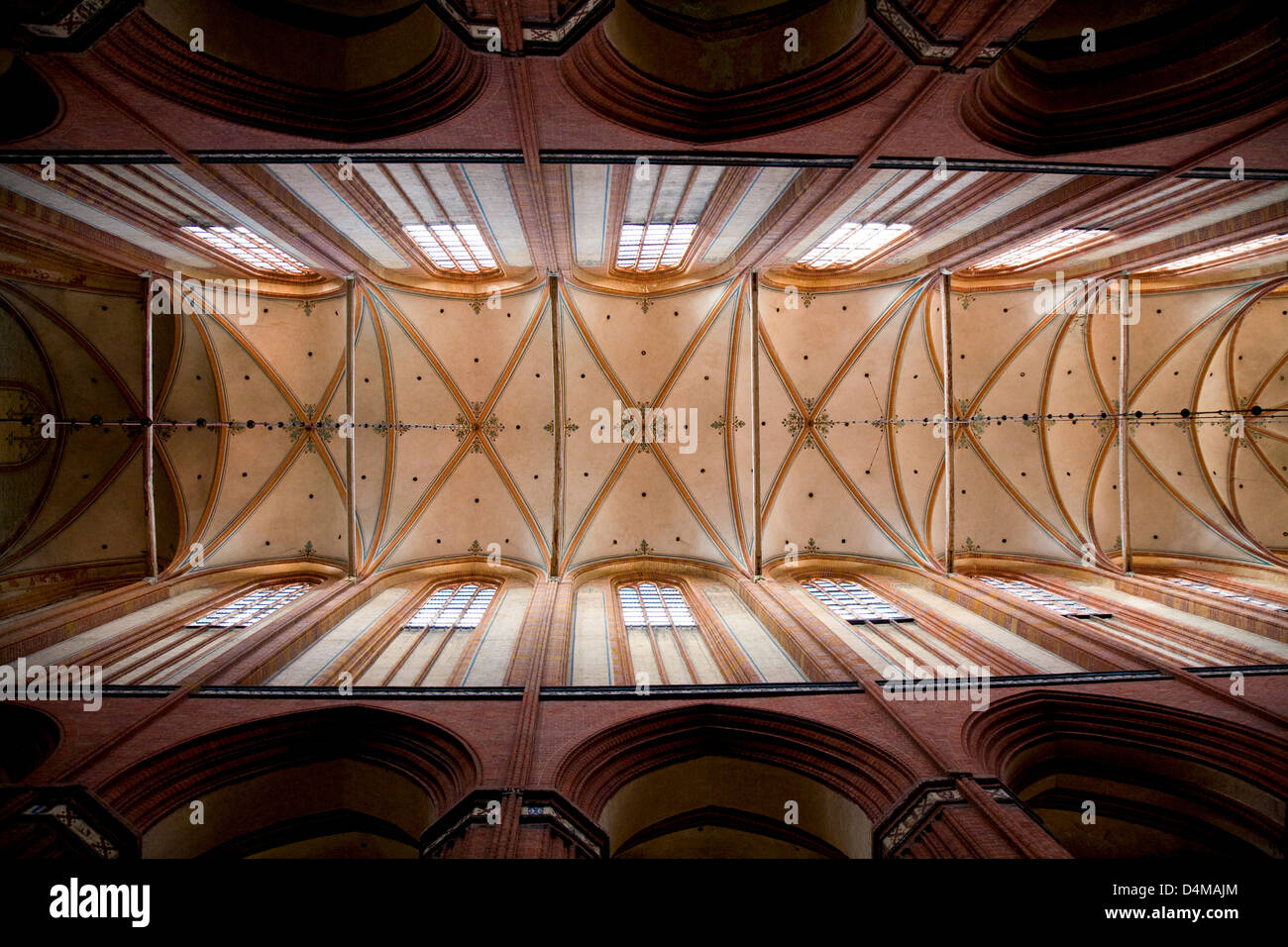 Wismar, Germany, the nave of St. Nicholas Church - Stock Image