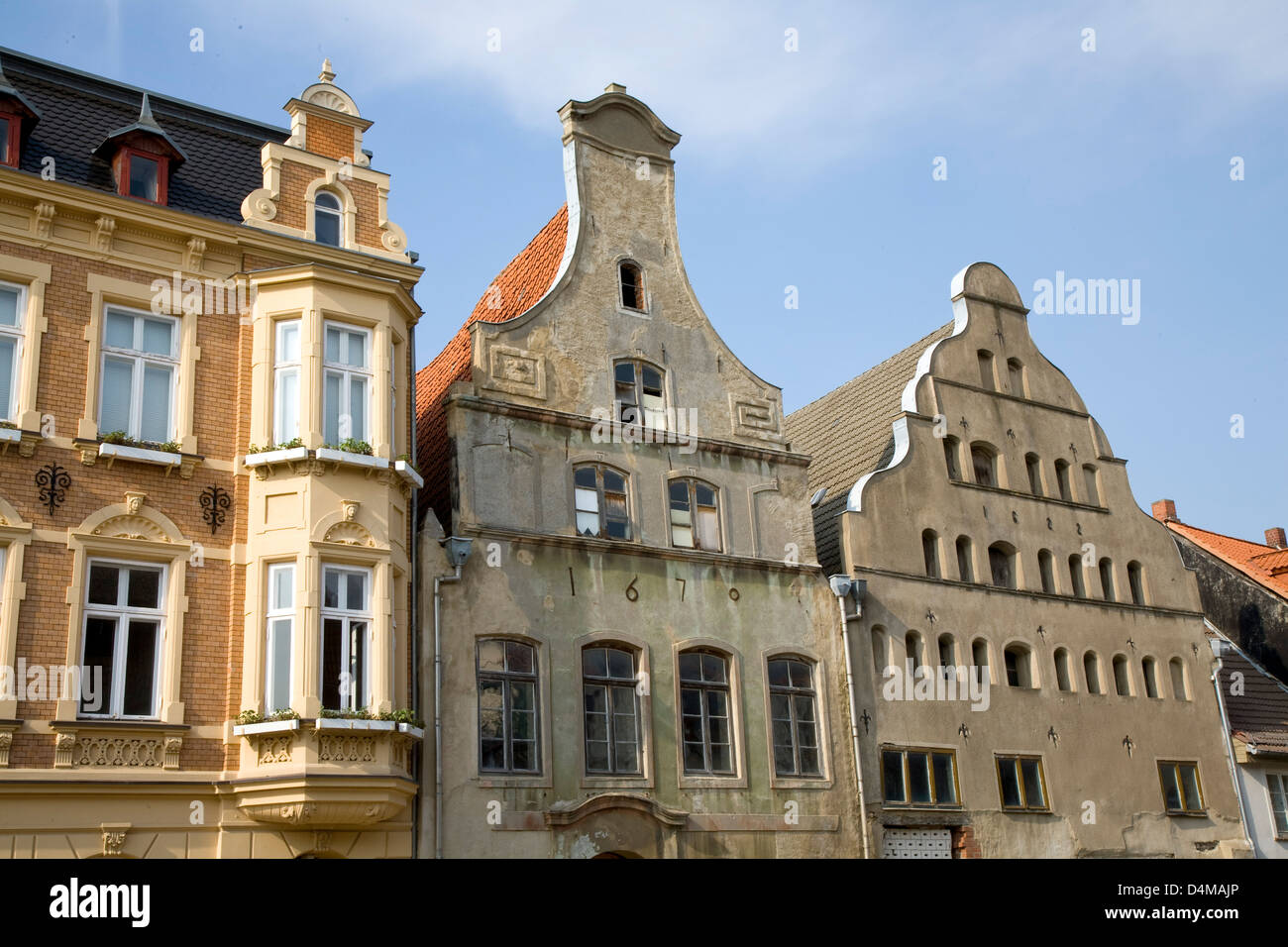 Wismar, Germany, Haeuserzeile in the old town - Stock Image