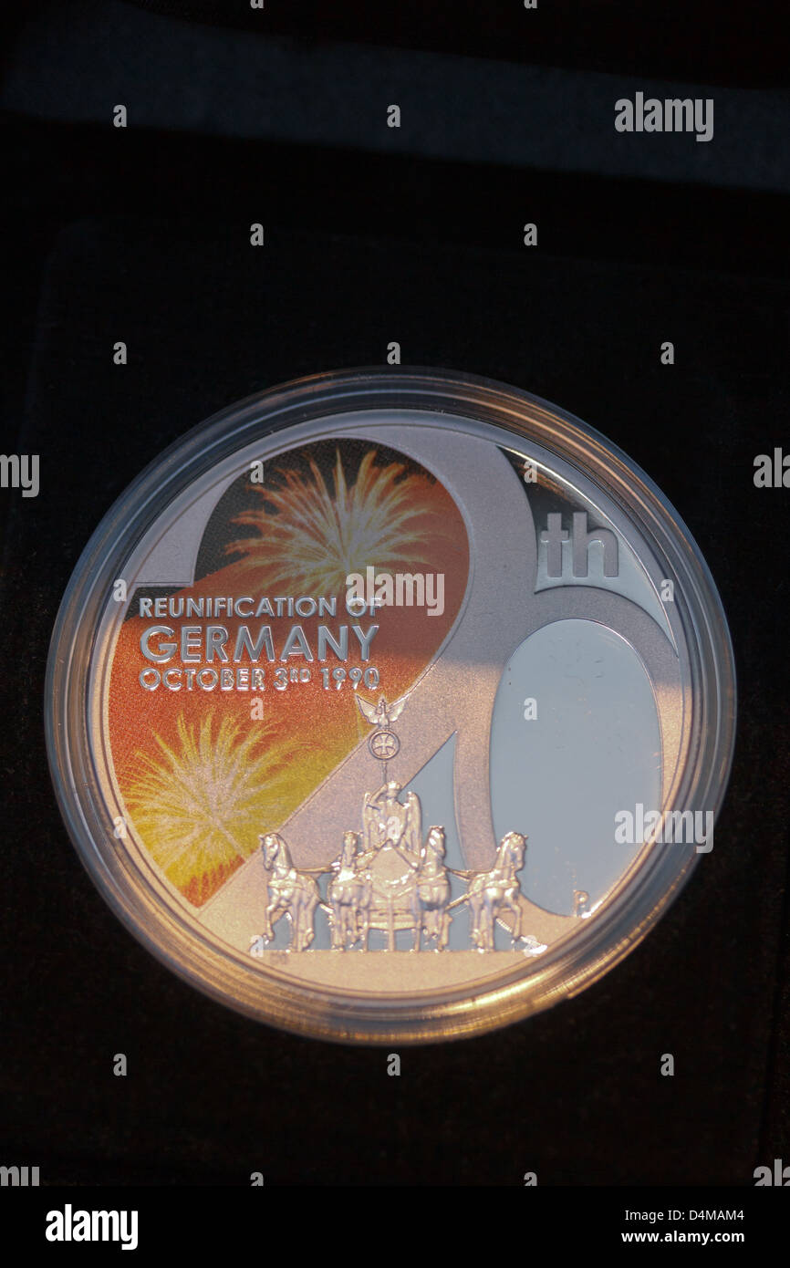 Berlin, Germany, 1 dollar coin Reunion - 20 Years of German Unity - Stock Image