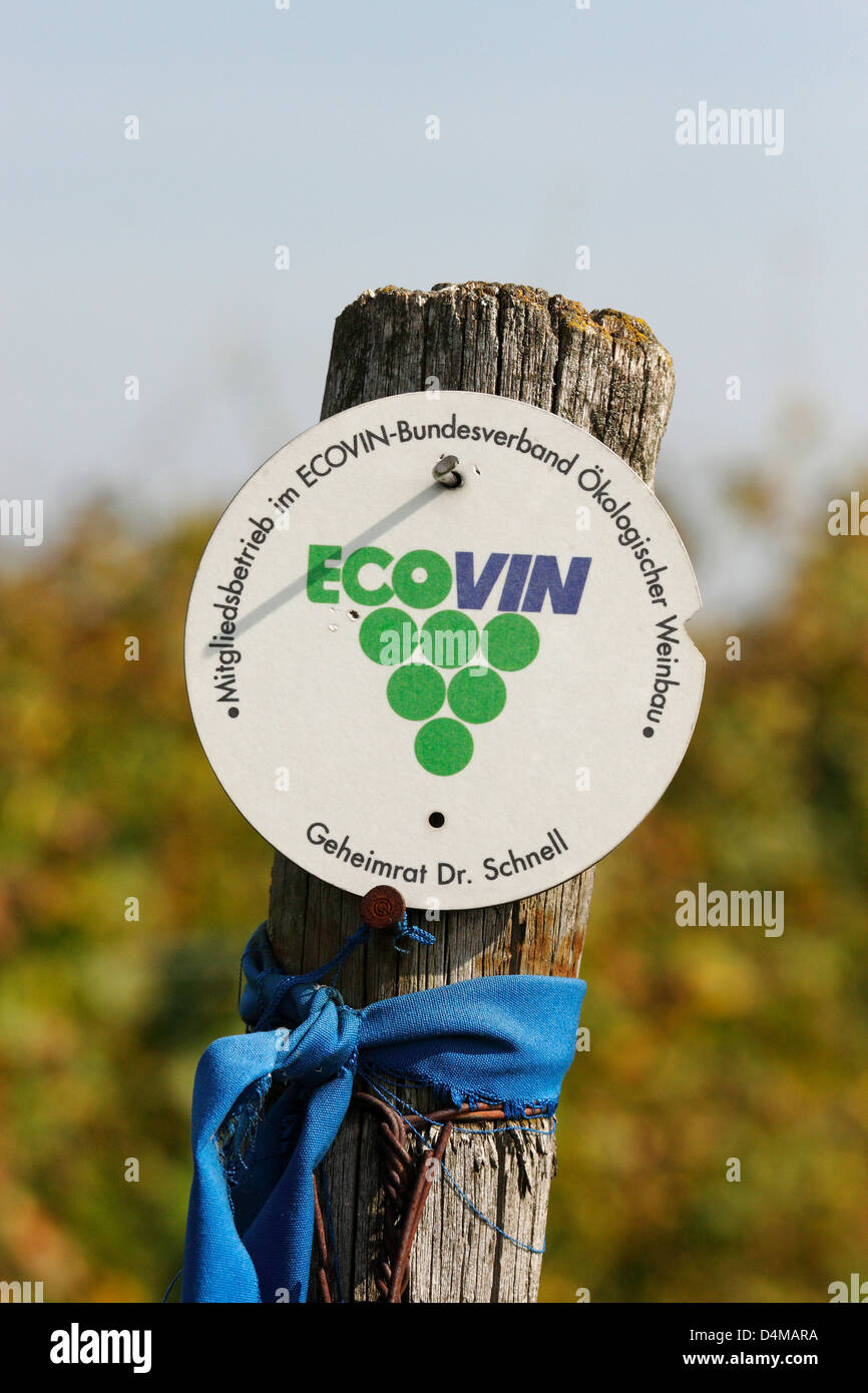 Guntersblum, Germany, badge with the indication of a ecologically farmed vineyard - Stock Image