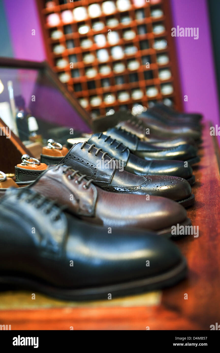 Berlin, Germany lined up, men's shoes in a Fashion Business - Stock Image