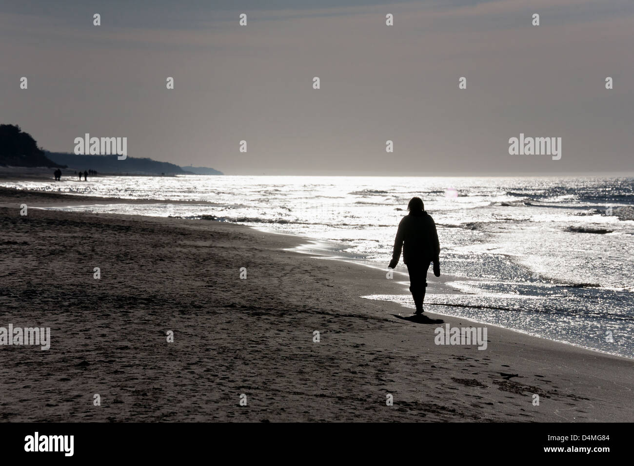 Ostrava, Poland, walking at the Baltic Sea beach - Stock Image