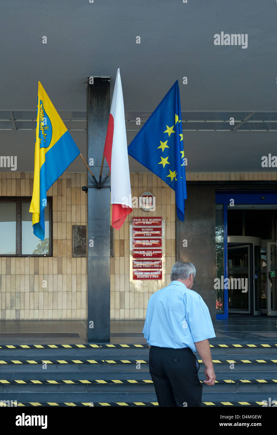 Opole, Poland, flags at the seat of self-government of the Opole - Stock Image