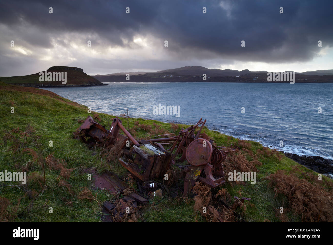 Storm clouds over Gesto Bay and the entrance to Loch Harport, Isle of Skye, Scotland Stock Photo