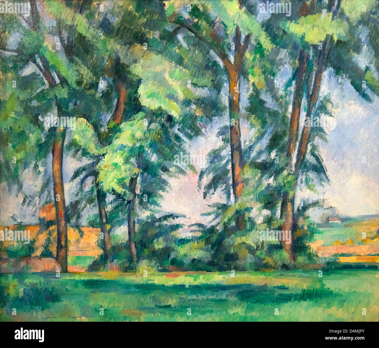 Tall Trees at the Jas de Bouffan by Paul Cezanne, circa 1883, Courtauld Institute of Art, Somerset House, London, - Stock Image