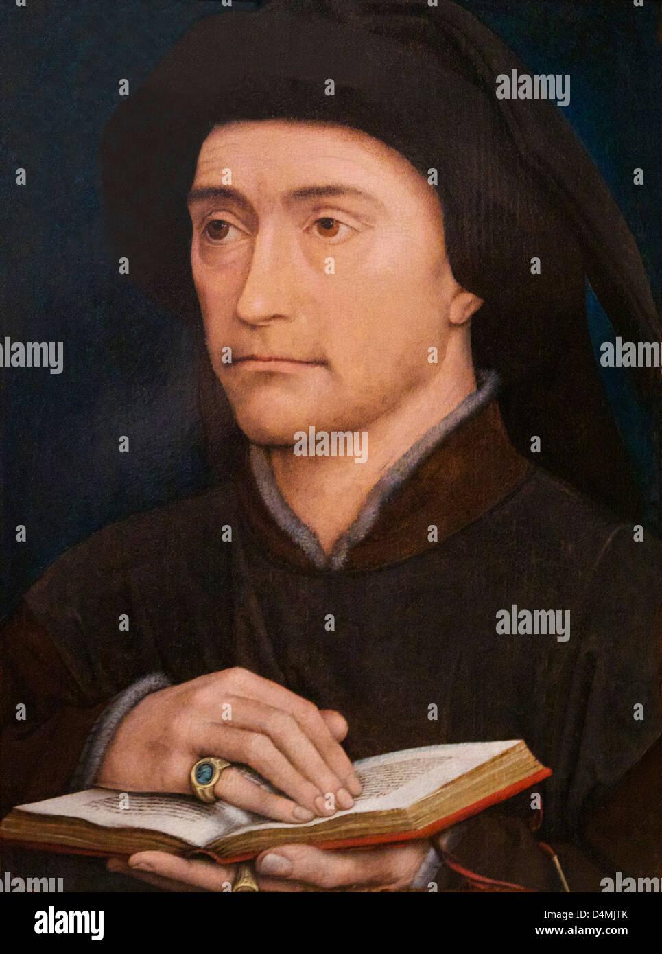 Portrait of a Man, Workshop of Rogier van der Weyden, 1430's,  Courtauld Institute of Art, Somerset House, London, - Stock Image