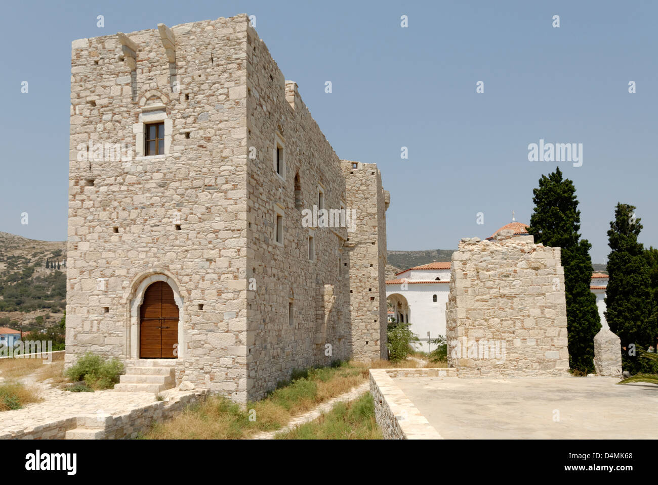Greece. Samos. Pythagoreio. The tower of the Byzantine castle Kastro, which served the Struggle for independence. Stock Photo