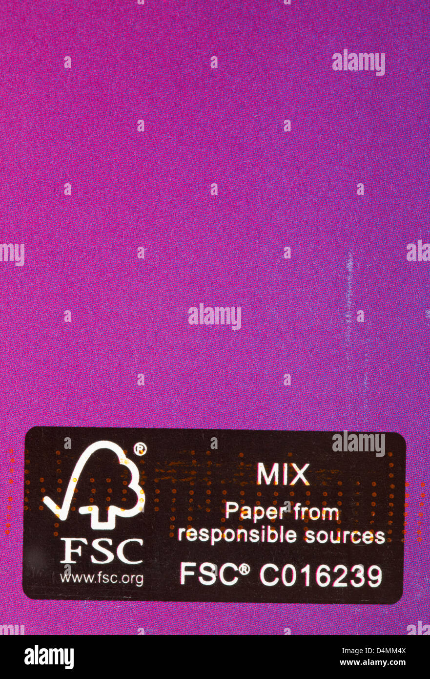 FSC Mix paper from responsible sources logo on purple pink envelope - Stock Image