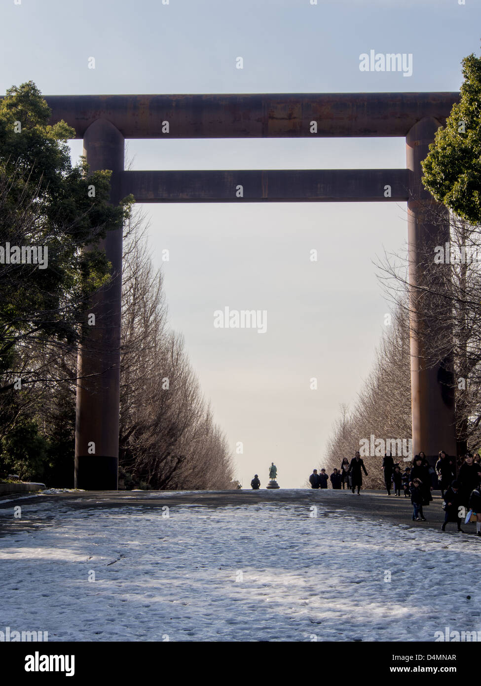 Daiichi Torii at Yasukuni Shrine, Tokyo in winter.  Made of steel, 25 meters high, erected in 1974. - Stock Image