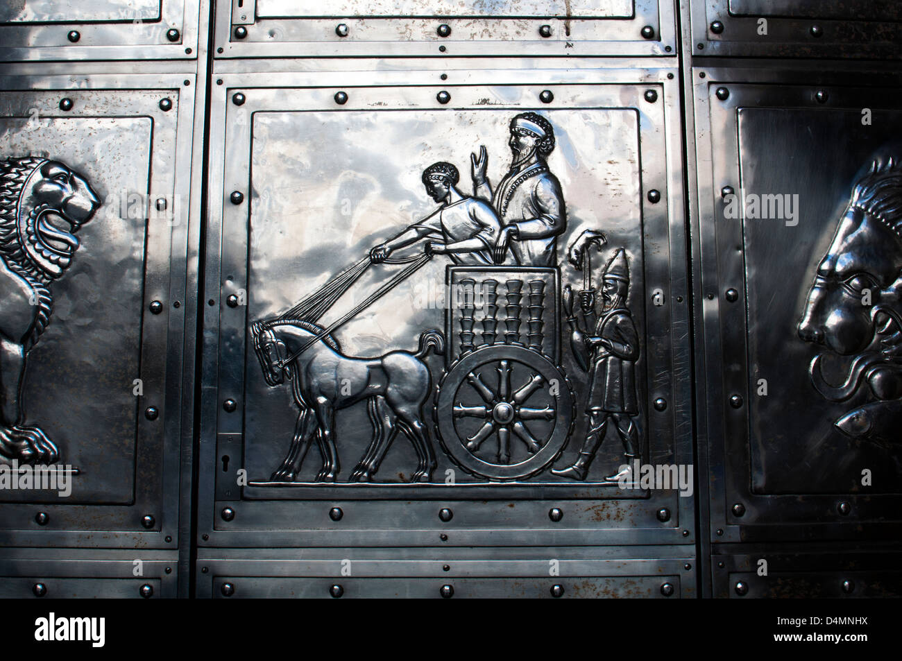 Detail of metal door on NatWest Bank, Coventry, UK - Stock Image