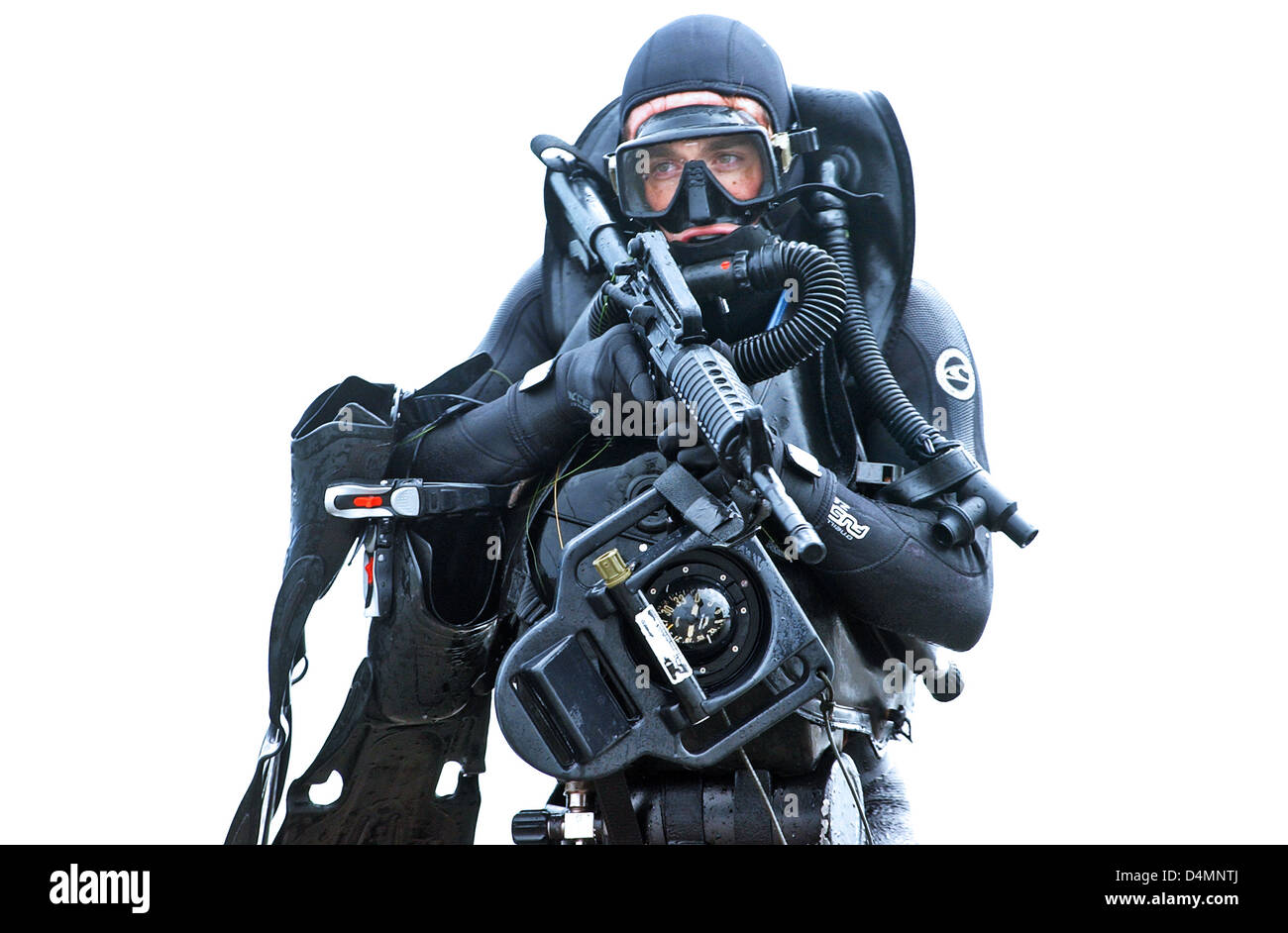 A member of a seal team practices water insertion techniques in scuba stock photo 54545922 alamy - Navy seal dive gear ...