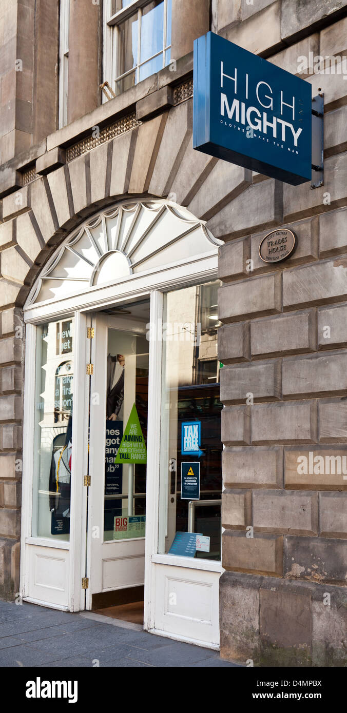 Main entrance to a central Glasgow branch of High and Mighty, a UK clothes chain for men who are tall and/or large. - Stock Image
